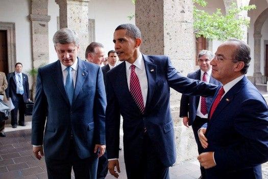 President Barack Obama with Stephen Harper and Felipe Calderón