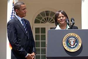 Regina Benjamin - Benjamin accepting President Obama's nomination for U.S. Surgeon General in July 2009.