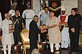 President Pranab Mukherjee receives first copies of the books 'Thoughts and Reflections', 'Winged Wonders of Rashtrapati Bhavan' & 'Indradhanush'.jpg