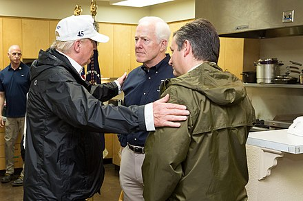 President Donald Trump with Senators Cornyn and Ted Cruz, August 29, 2017 President of the United States Donald J. Trump, United States Senator for Texas John Cornyn, and United States Senator from Texas Ted Cruz, August 29, 2017 (36776448741).jpg