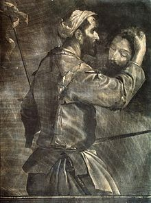 The gray tone picture shows a European man dressed in informal 17th-century clothing holding a sword, on which Rupert's name can just be made out, in one hand, and the severed head of John the Baptist in the other. The mezzotint engraving appears fluid, with broad sweeps of detail.