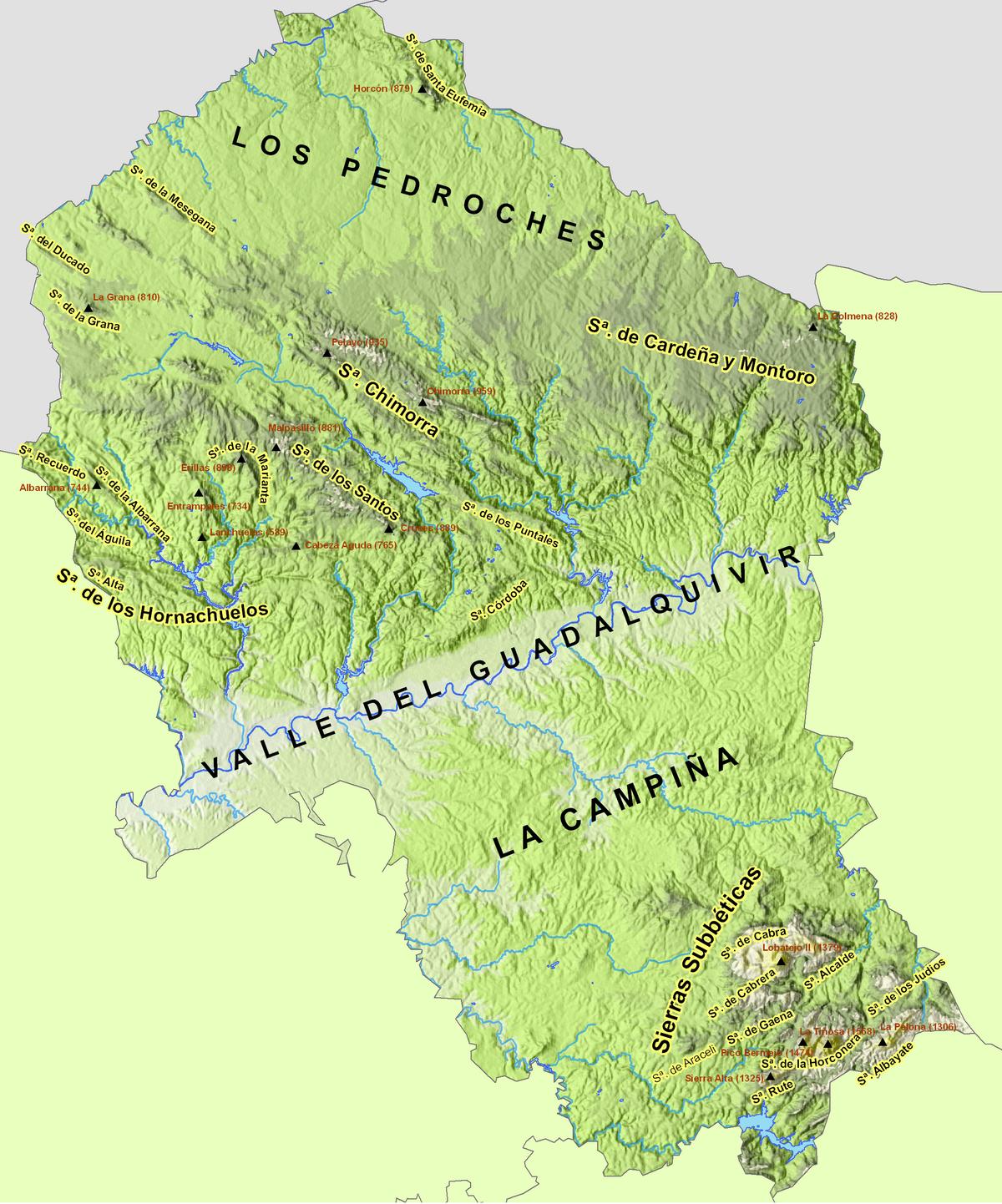 Mapa Provincia De Cordoba España.Archivo Provincia De Cordoba Relieve Png Wikipedia La