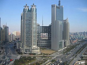 Pudong district roads traffic skyscrapers, Shanghai
