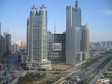 Pudong district roads traffic skyscrapers, Shanghai.JPG