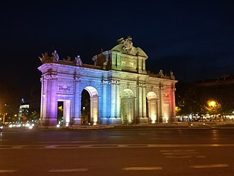 WorldPride - Puerta de Alcalá, Madrid, illuminated with the rainbow colours during the celebrations of WorldPride 2017