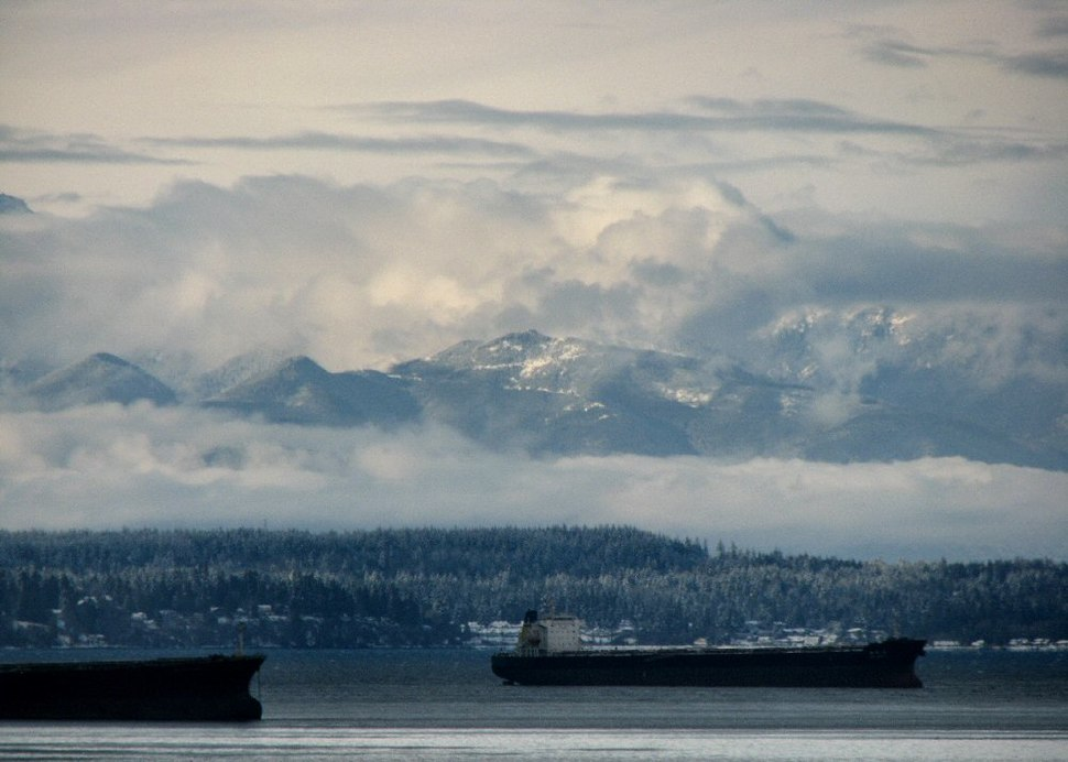 Puget sound, cascade mountains and rain clouds