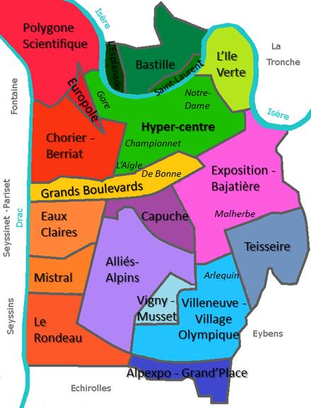 Plan Des Quartiers De Grenoble