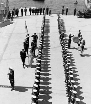 Queen of Malta - Queen Elizabeth II reviewing British naval personnel in Malta, 1954