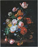 Rachel Ruysch - Flowers in a glass vase on a marble slab formerly of Munich Alte Pinakothek.jpg