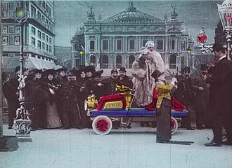 An Adventurous Automobile Trip - Frame from a hand-colored print of the film