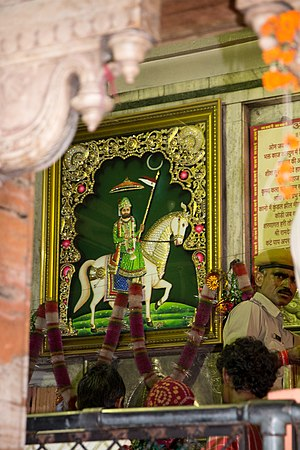 Ramdev Pir - Ramdev ji Pir depicted riding a horse at temple in Ramdevra