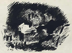 "Illustration by Édouard Manet for a French translation by Stéphane Mallarmé of Edgar Allan Poe's ""The Raven"". Part 1 of 4 full page plates (two smaller illustrations at beginning and end omitted)."