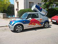 Red Bull Mini Faltdach Cabrio (side) Kroatien.JPG