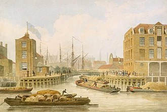 Regent's Canal - The entrance to the Regent's Canal at Limehouse, 1823.