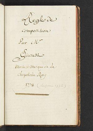 François Giroust - First page of François Giroust's Regles de composition.