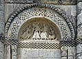 Reich geschmückt, die romanische Apsis (12. Jahrhundert) der Kirche Saint-Vivien-de-Medoc. 7.jpg