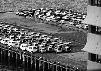 Transport in New Zealand - Imported cars on Auckland wharf