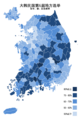 Republic of Korea local election 2014 turnout (city, county or ward) zh-hans.png