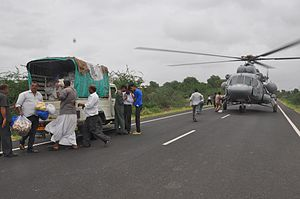 July 2015 Gujarat flood - Helicopter deployed by Indian Air Force for rescue