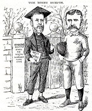 History of rugby league - A cartoon lampooning the divide in rugby. The caricatures are of Rev. Frank Marshall, an arch-opponent of broken-time payments and James Miller, a long-time opponent of Marshall.