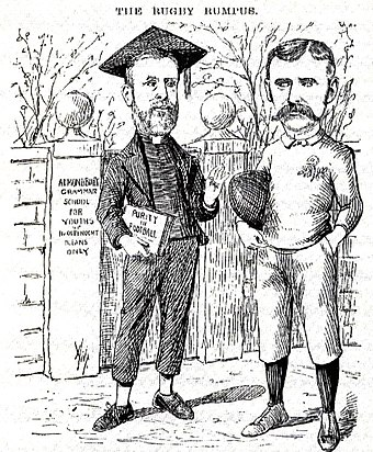 A 1890s cartoon lampooning the divide in rugby. The caricatures are of Reverend Frank Marshall, an arch-opponent of broken-time payments and James Miller, a long-time opponent of Marshall Reverend marshall.jpg