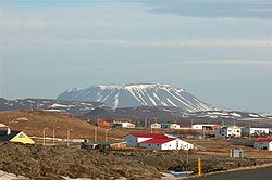 A view of the village of Reykjahlíð, the municipal seat