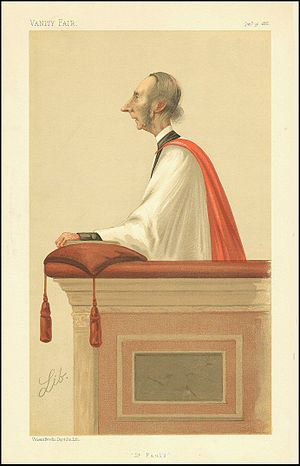 "Richard William Church - ""St Paul's"". Caricature by Lib published in Vanity Fair in 1886."