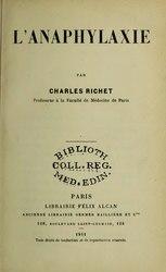 Charles Richet: L'Anaphylaxie
