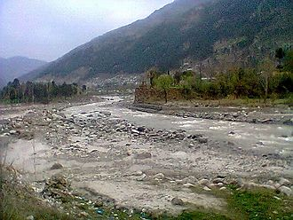 Kunhar River - The view of River Kunhar flowing from Tehsil Balakot, District Mansehra during winters.