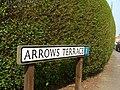 Road sign for Arrows Terrace, adjacent to the Devil's Arrows Standing Stones, Boroughbridge.jpg