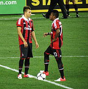 6aaae241d Robinho (right) and Milan teammate Stephan El Shaarawy at the centre circle  (August 2012)