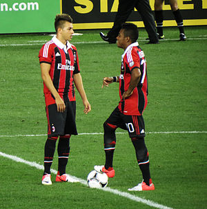 Stephan El Shaarawy - El Shaarawy with former teammate Robinho in their pre-season friendly with Real Madrid in August 2012
