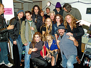 Constantine Maroulis - Maroulis and the Rock of Ages cast backstage with Kevin Cronin.