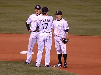 History of the Colorado Rockies - Left to right, Troy Tulowitzki, Todd Helton, and Jamey Carroll in 2007.