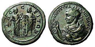Asclepius - Roman coin from Odessos showing Asclepius with Hygieia on one side and Gordian III's portrait on the other side (35mm, 28g)