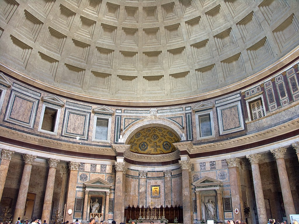 The Pantheon in Rome is an example of Roman concrete construction.