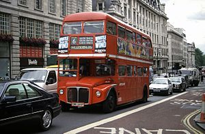 London Buses route 6 - Metroline AEC Routemaster approaching Piccadilly Circus in August 1998