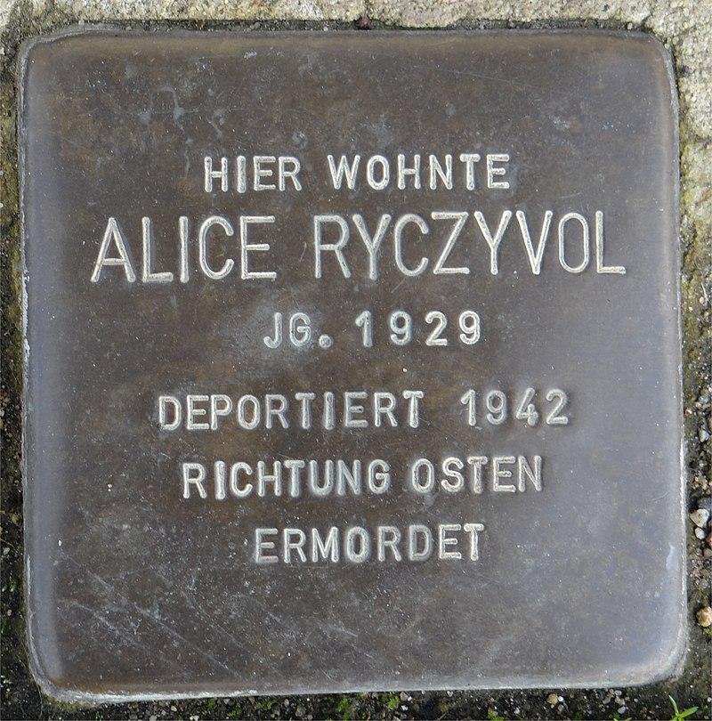Ruesselsheim am Main Stolperstein Schäfergasse 20 Alice Ryczyvol.jpg