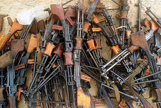 RPD machine gun - A captured Fedayeen weapons cache of Russian RPD machine guns, outside of Jaman Al Juburi, Iraq during Operation Iraqi Freedom.