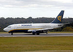 A Ryanair Boeing 737 on the landing roll at Bristol Airport