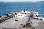 SH-3Hs of HS-17 on forward flight deck of USS Abraham Lincoln (CVN-72) in 1990.jpeg