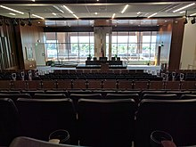 The view from the back row of the S.J. Quinney College of Law moot courtroom. Looking to the south over the roof-top terrace and the Salt Lake valley.