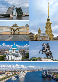 Met de klok mee vanaf linksboven: Drawn Palace Bridge, Peter and Paul Fortress op Zayachy Island, Bronze Horseman op Senate Square, de Great Neva-rivier, Trinity Cathedral en het General Staff Building.