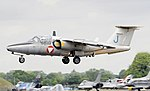Saab 105 Oe trainer (code J) of the Austrian Air Force at RIAT Fairford 13July2017 arp.jpg
