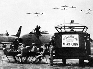 Combat readiness - RCAF alert crew at Zweibrücken, Germany in 1956 waiting to scramble