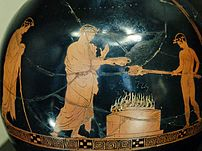Sacrifice scene, with kalos inscription. Detai...