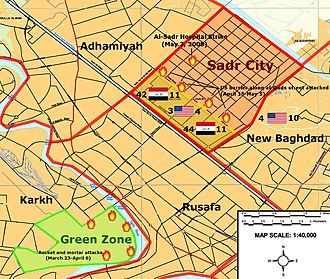 Siege of Sadr City - Map showing location of fighting in eastern Baghdad, March–May 2008