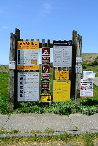 Protected area - Prohibited activities and safety instructions at a state park in Oregon