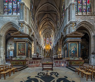 The church of Saint-Merri, Paris, where Saint-Saens was organist, 1853-57 Saint Merri Church Interior 2, Paris, France - Diliff.jpg