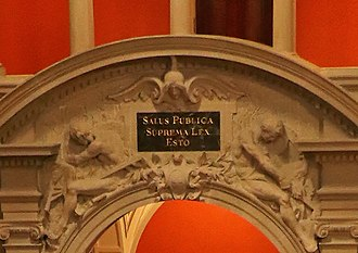 "Common good - Salus publica suprema lex esto, ""The common good is the supreme law"", in the Swiss Parliament."